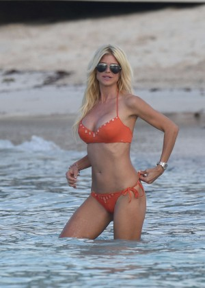 Victoria Silvstedt in Orange Bikini on the Beach in St. Barths