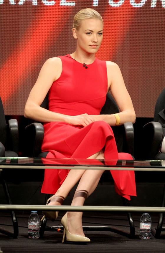 Yvonne Strahovski hot in red dress at TCA Summer Press Tour