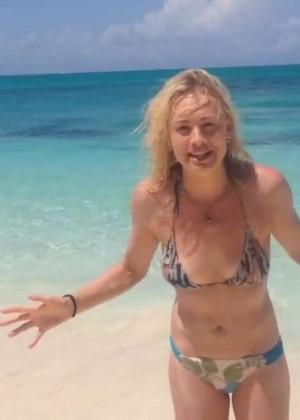 Yvonne Strahovski - Ice Bucket Challenge in a Bikini