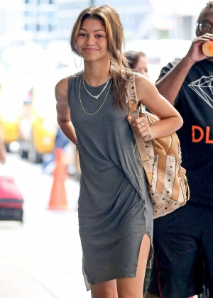 Zendaya in Short Dress Arriving at Her Hotel in NYC
