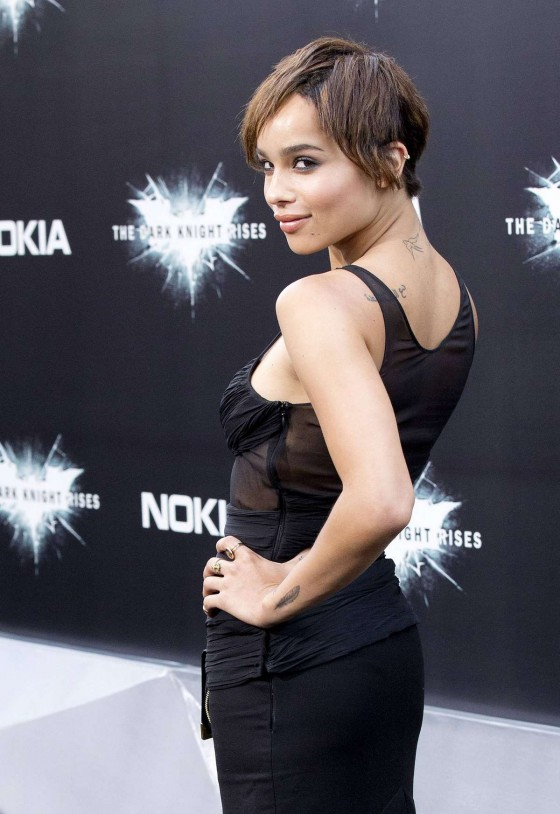Zoe Kravitz - looks sexy in a black dress at The Dark Knight Rises premiere in New York