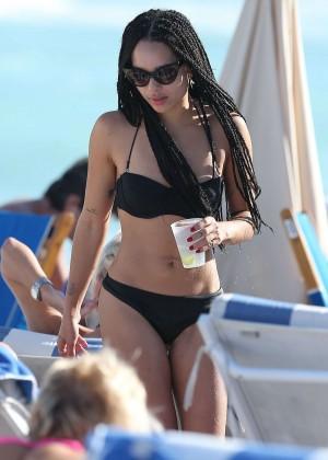 Zoe Kravitz in Bikini at beach in Miami