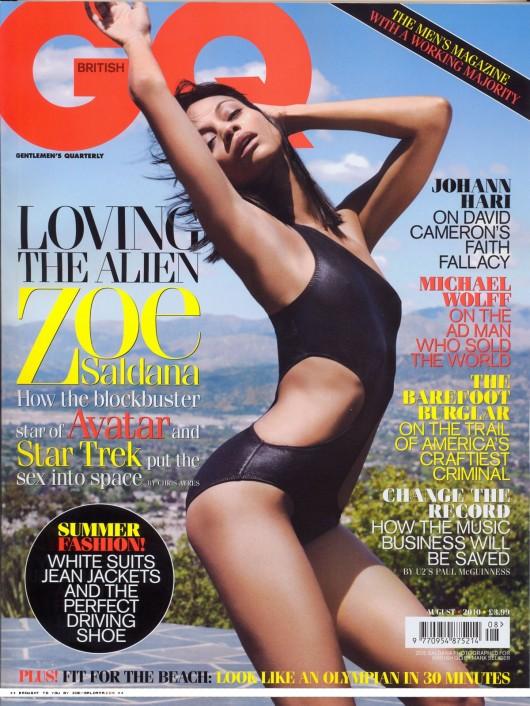 Zoe Saldana In a Swimsuit In GQ Magazine Scans ( 2010)