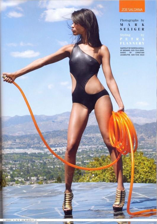 Zoe Saldana In A Swimsuit In Gq Magazine Scans 2010 04