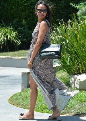Zoe Saldana in Long Dress Leaves a Private Party in Brentwood