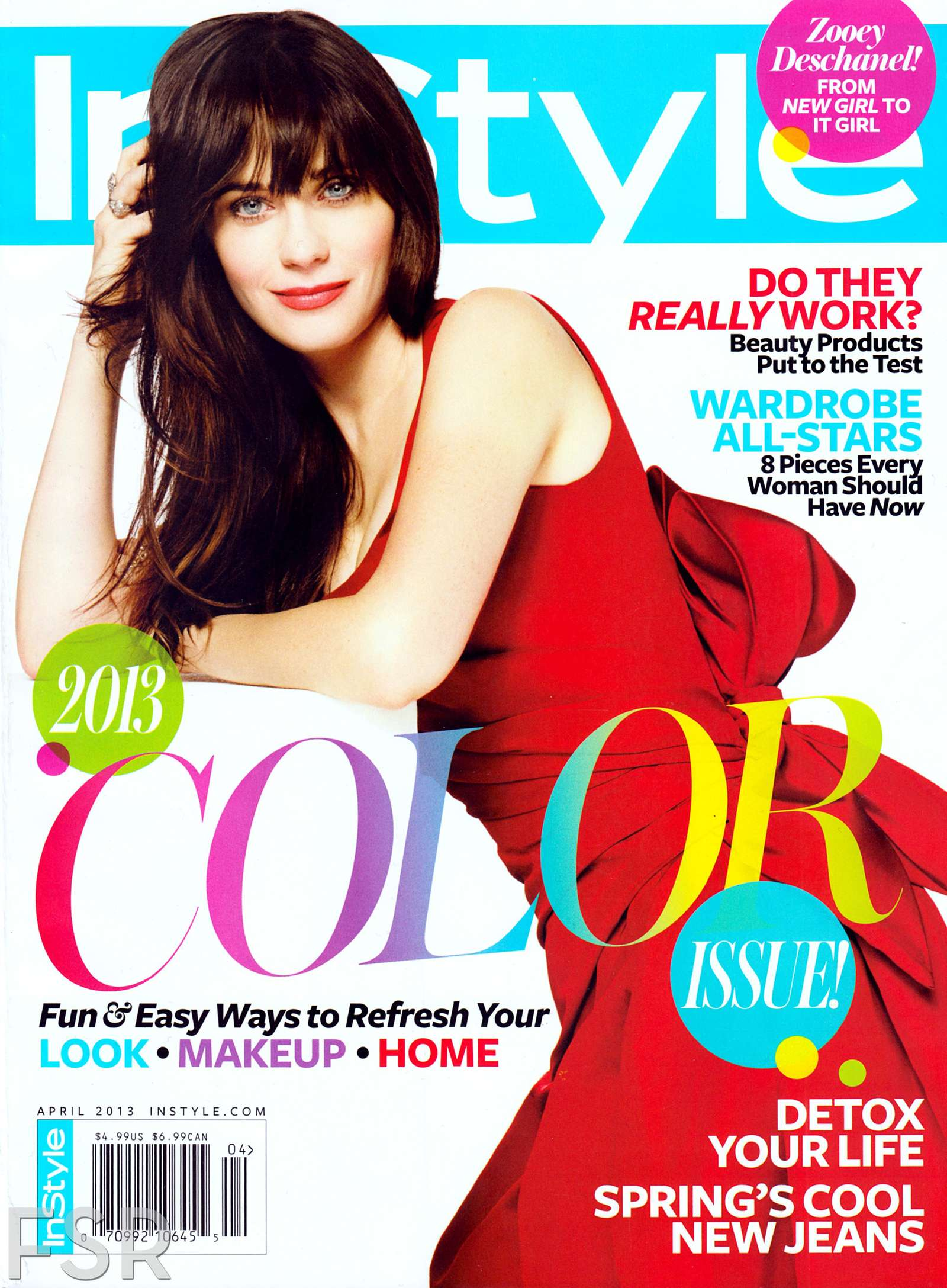 zooey deschanel cover instyle april 2013. Black Bedroom Furniture Sets. Home Design Ideas