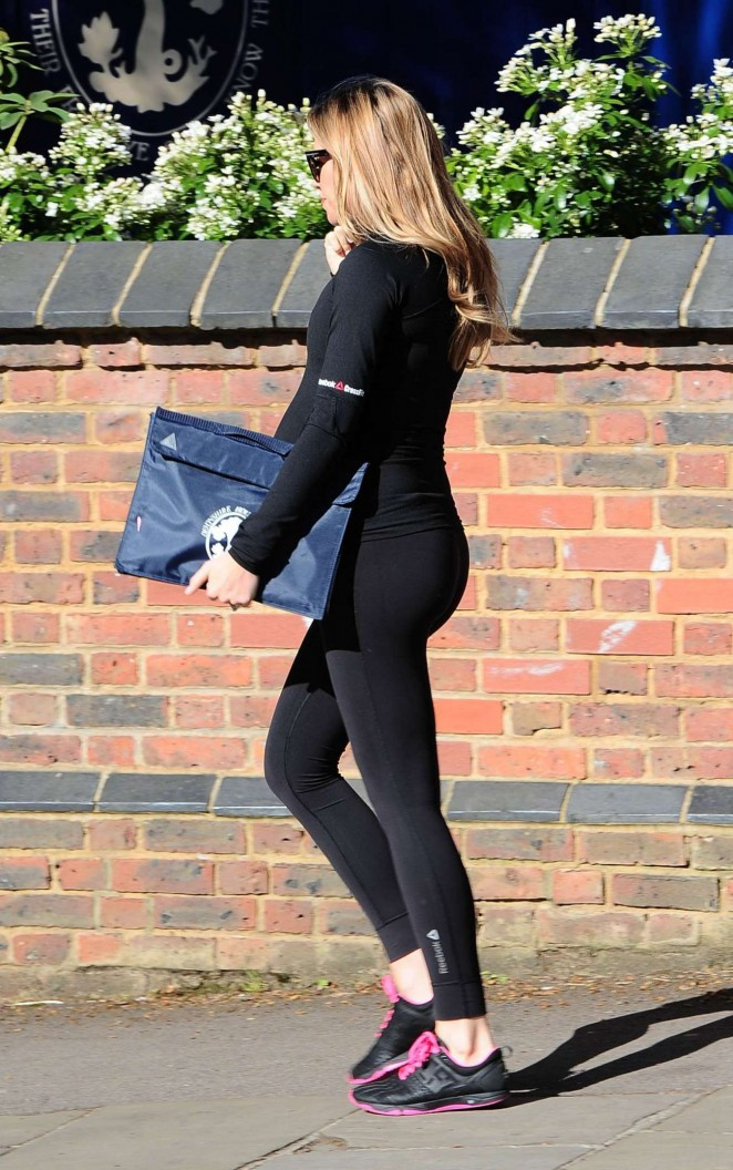 Abbey Clancy in Leggings Heads to the gym in London