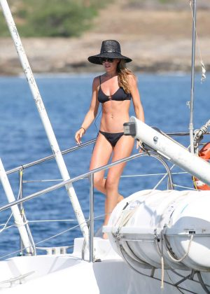 Abbey Clancy in Black Bikini Filming of Britain's Next Top Model