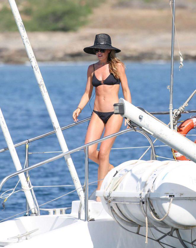 Abbey Clancy in Black Bikini Filming of Britain's Next Top Model