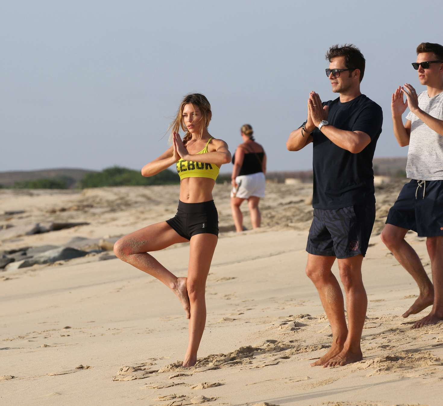 Abbey Clancy In Shorts Doing Yoga -07