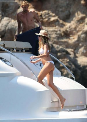 Abbey Clancy in White Bikini in Majorca