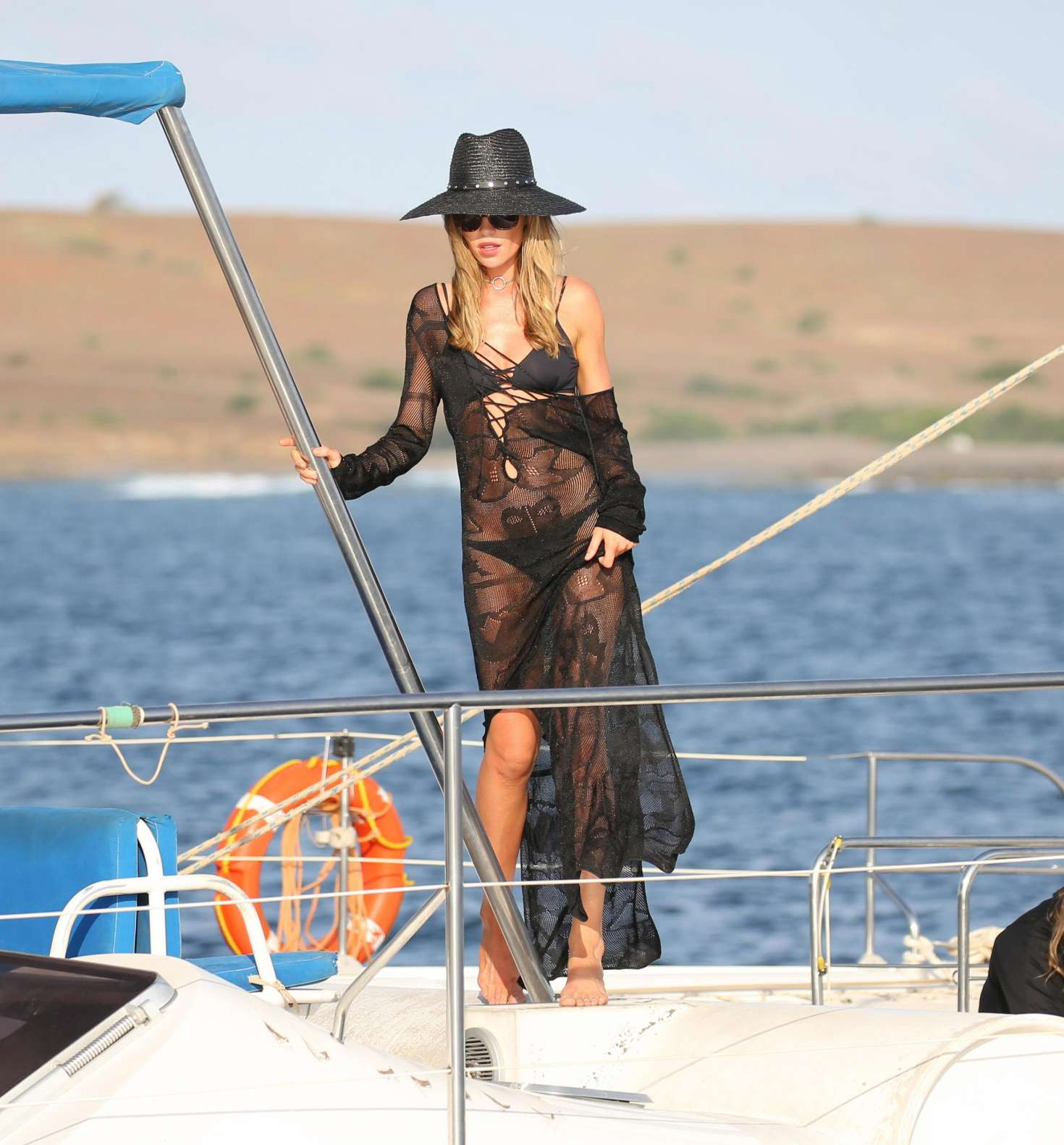 Abbey Clancy - Swimwear Photoshoot For 'Britain's Next Top Model' on Yacht in Cape Verde