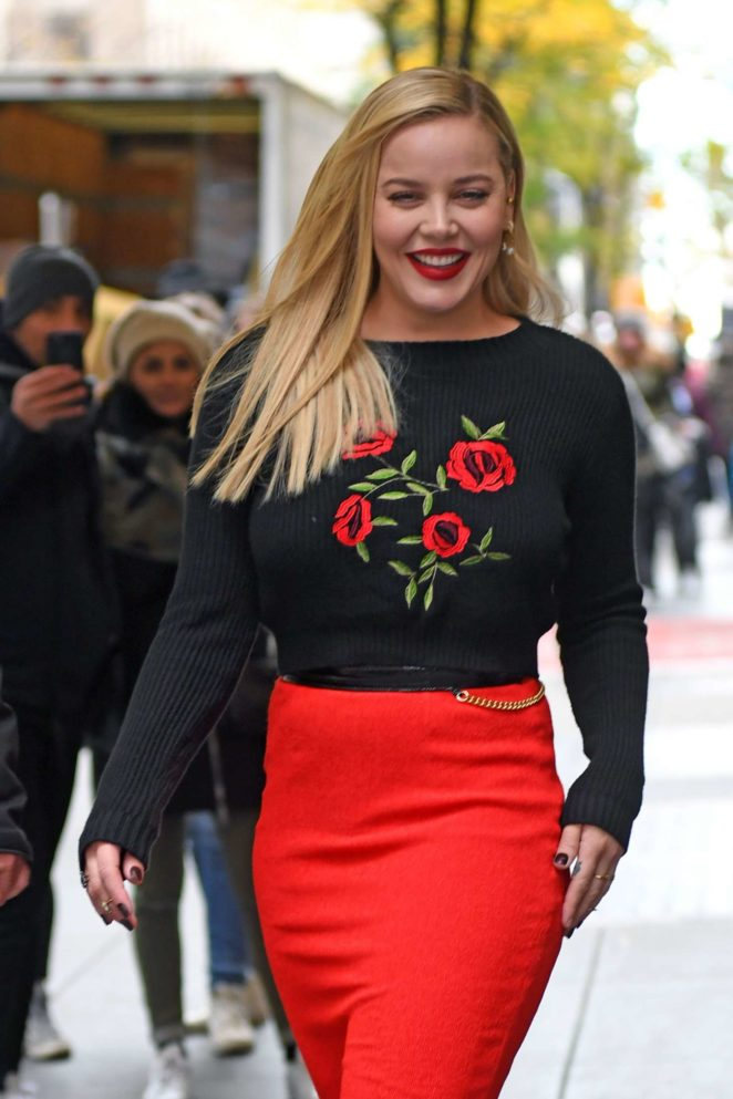 Abbie Cornish in Red Skirt at New York Live in NYC