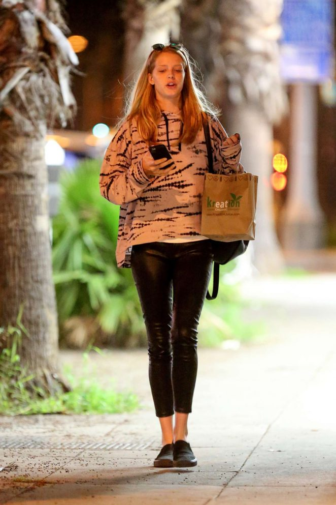 Abby Champion in black leather pants at Kreation Kafe in Santa Monica