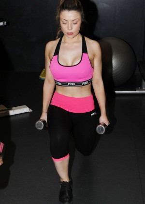 Abi Clarke in Tights and Sports Bra working out in Essex
