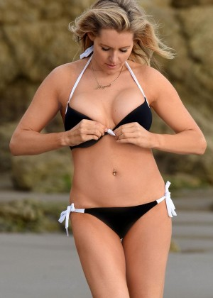 Abi Titmuss - Hot in a Black bikini on Malibu beach