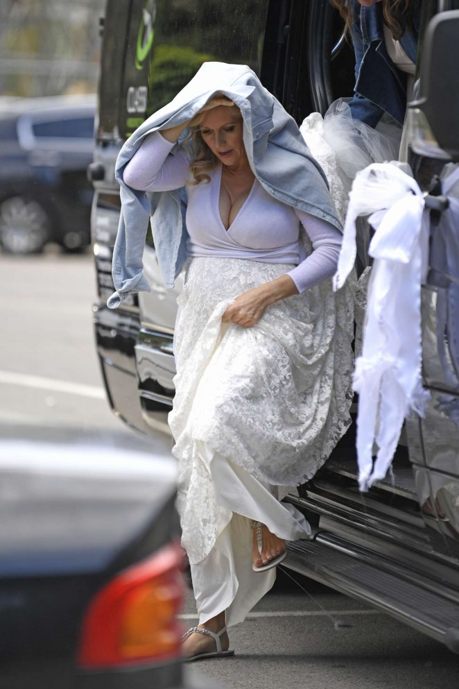 Abi Titmuss wearing her wedding dress in Malibu
