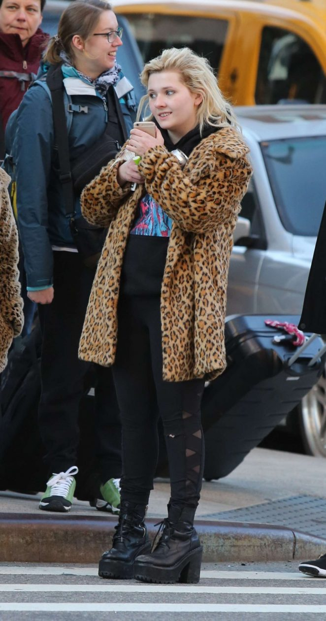 Abigail Breslin 2017 : Abigail Breslin in Fur Coat out in NYC -07