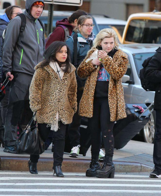 Abigail Breslin 2017 : Abigail Breslin in Fur Coat out in NYC -08