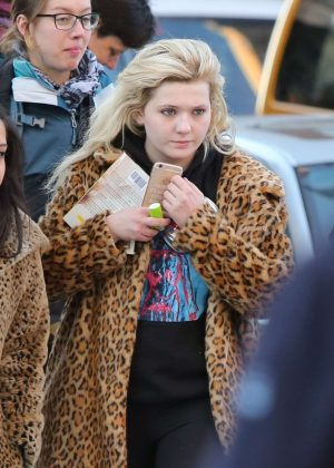 Abigail Breslin in Fur Coat out in NYC