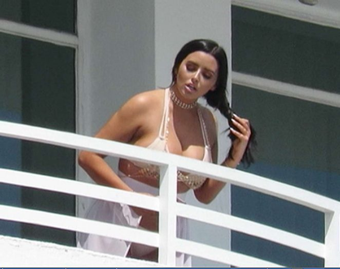Abigail Ratchford in Bikini on the balcony of her hotel in Miami Beach