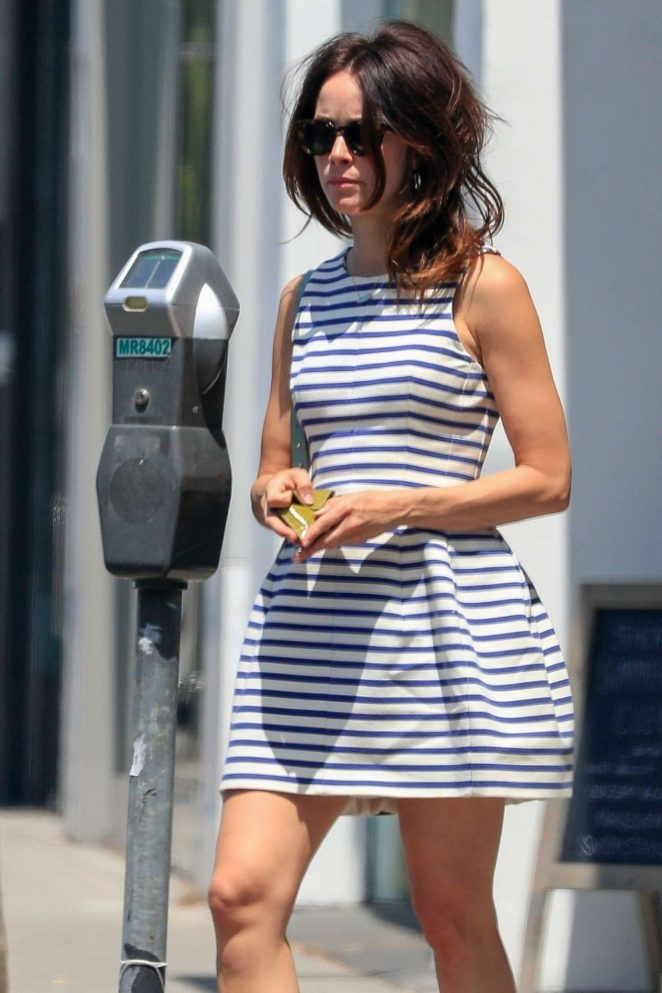 Abigail Spencer in Mini Dress - Feeds her meter in West Hollywood