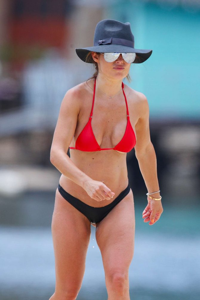 Ada Nicodemou in Black and Red Bikini at a beach in Sydney