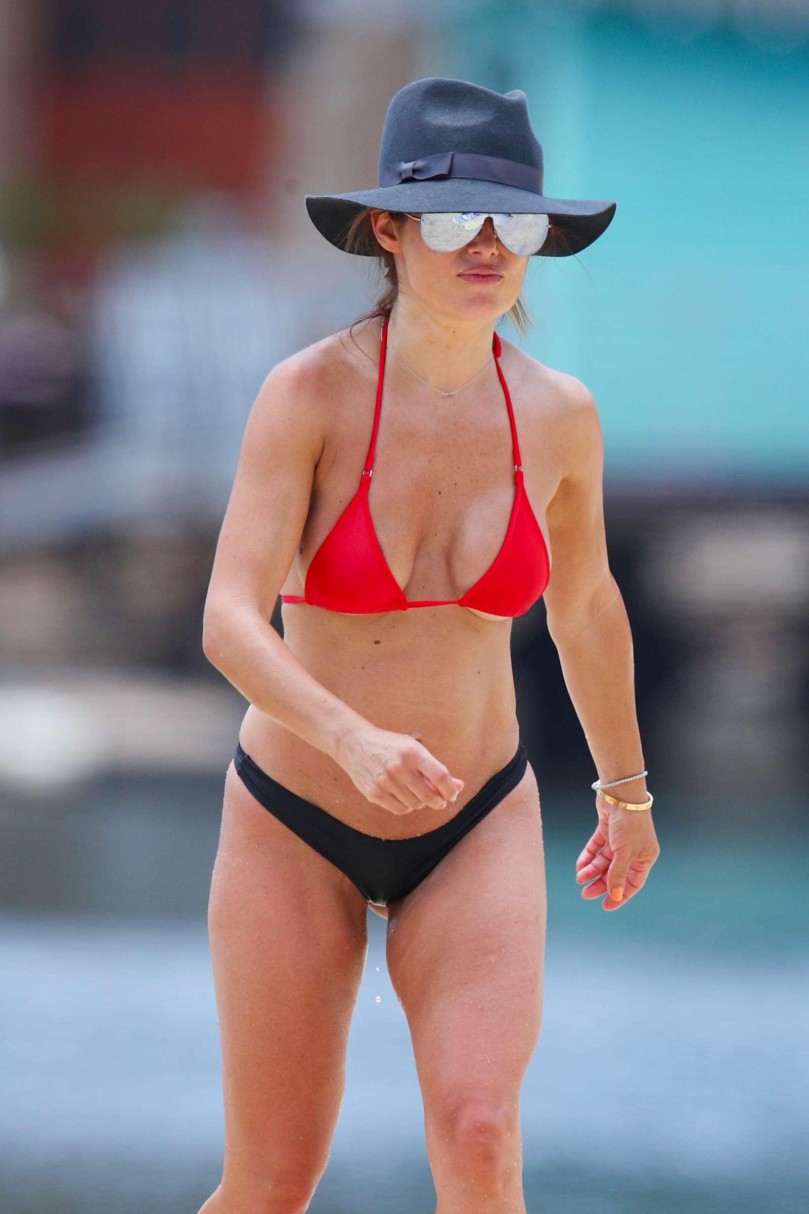 Ada Nicodemou in Black and Red Bikini at a beach in Sydney