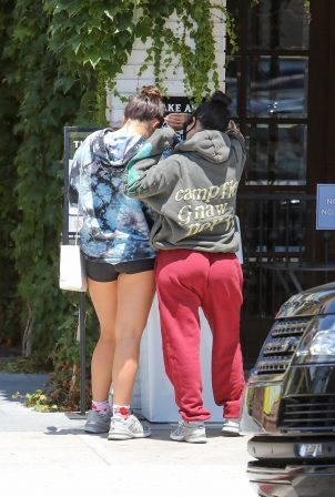 Addison Rae and Kourtney Kardashian - Grabbing coffee at Alfreds in Studio City
