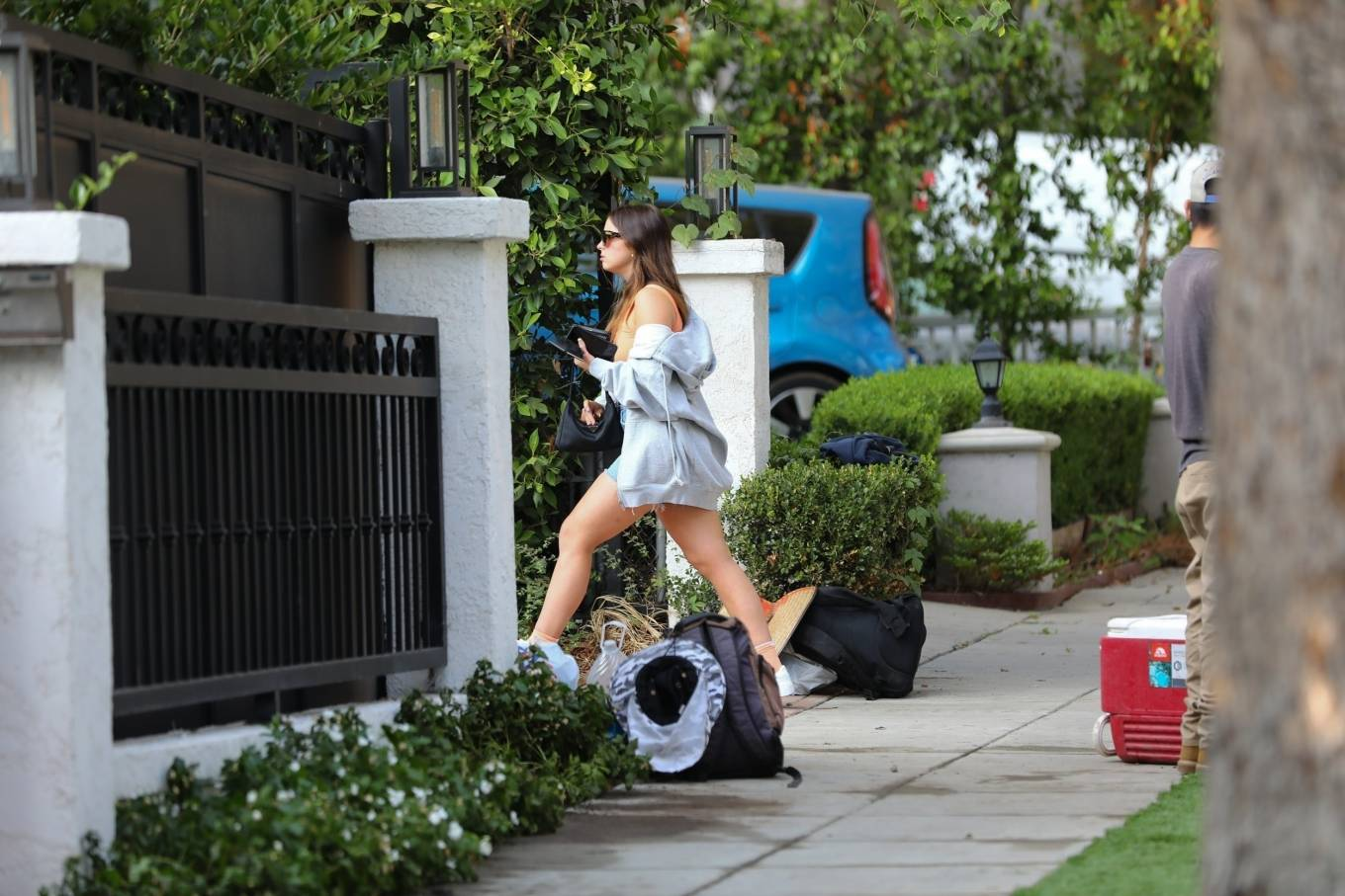 Addison Rae 2020 : Addison Rae – In shorts arrives at a friends house in Los Angeles-05