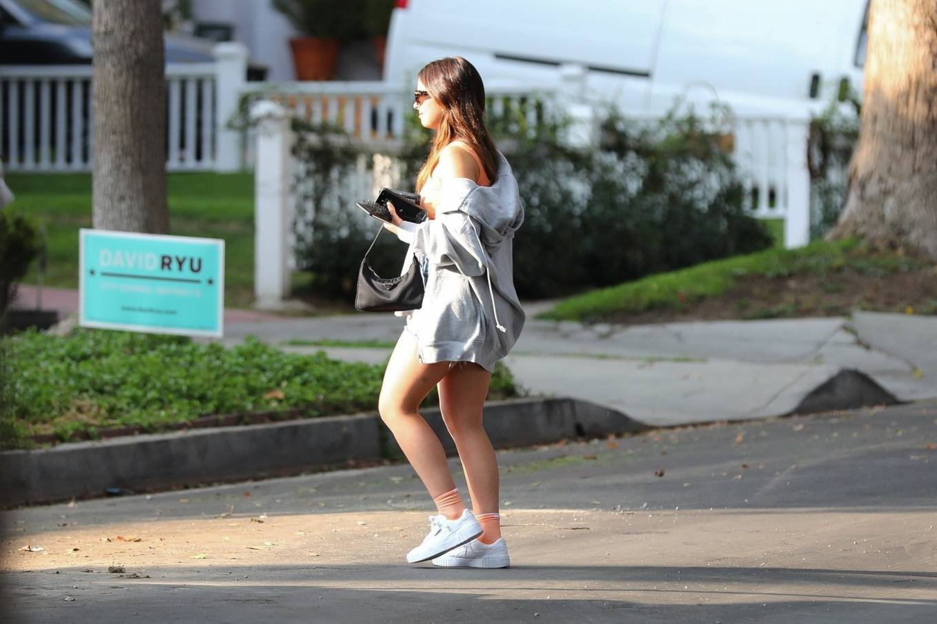 Addison Rae 2020 : Addison Rae – In shorts arrives at a friends house in Los Angeles-06