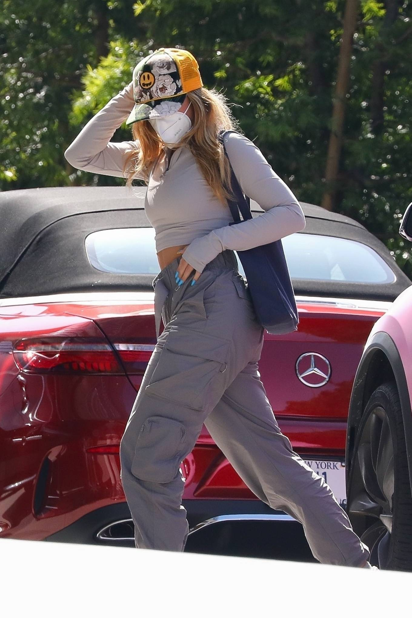 Addison Rae 2021 : Addison Rae – Spotted at an office building in Los Angeles in her pink Tesla-06