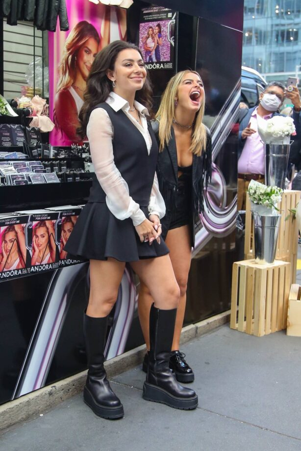 Addison Rae - With Charli XCX dancing during a Pandora Me promo together in New York City