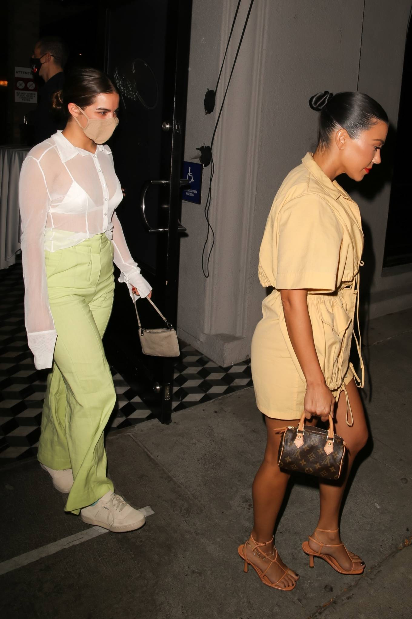 Addison Rae with Kourtney Kardashian leaving dinner at Craigs in West Hollywood