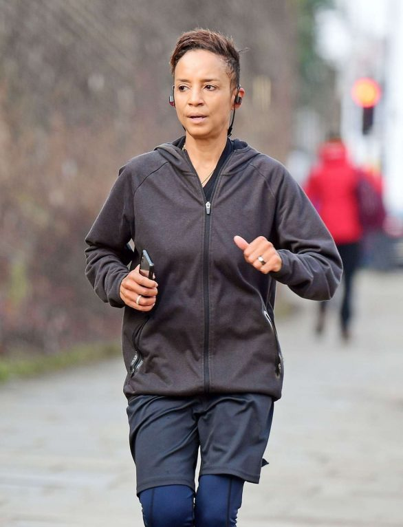 Adele Roberts spotted jogging out in London