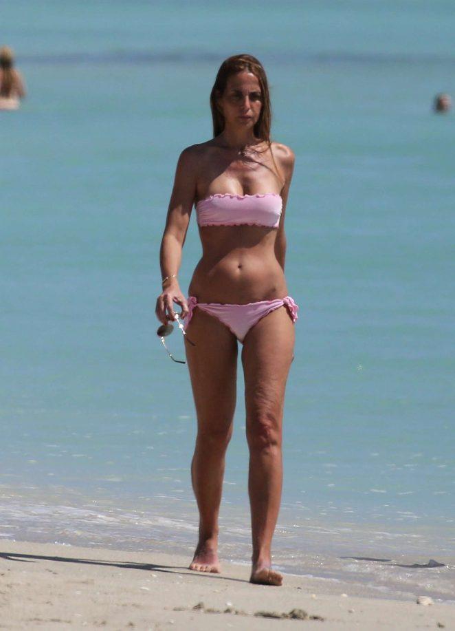 Adriana Fossa in Pink Bikini on the beach in Miami