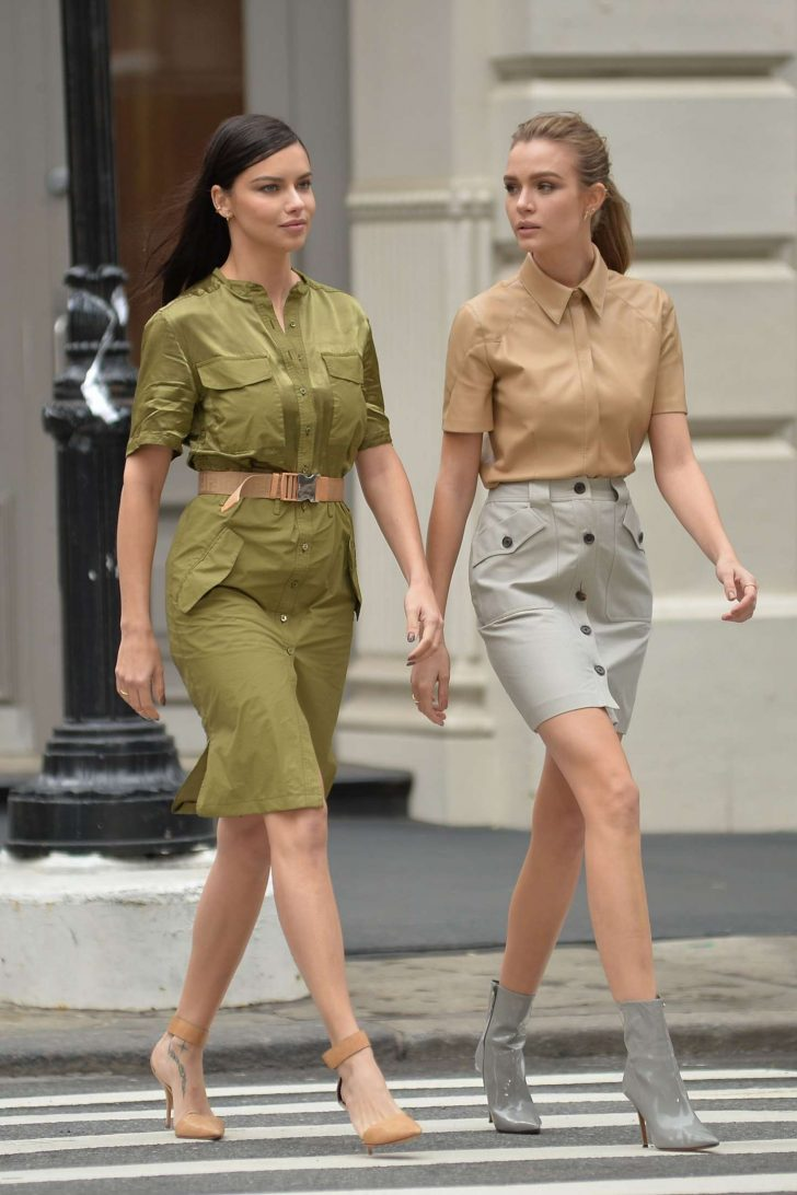 Adriana Lima and Josephine Skriver - On set for a Maybelline photoshoot in NYC