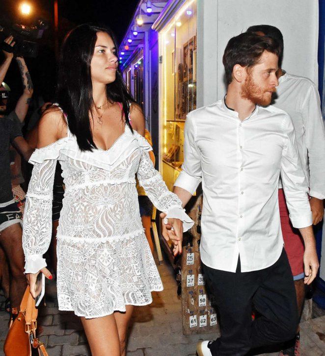Adriana Lima and new boyfriend Metin Hara at the Memedof Fish Restaurant in Bodrum