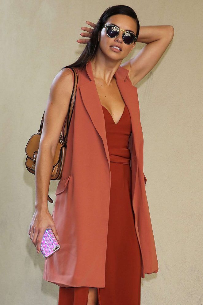 Adriana Lima at Bottega Veneta Show at Milan Fashion Week
