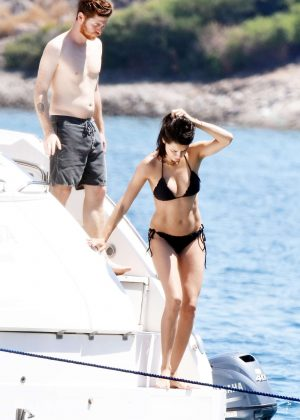 Adriana Lima in Black Bikini on a Yacht in Bodrum