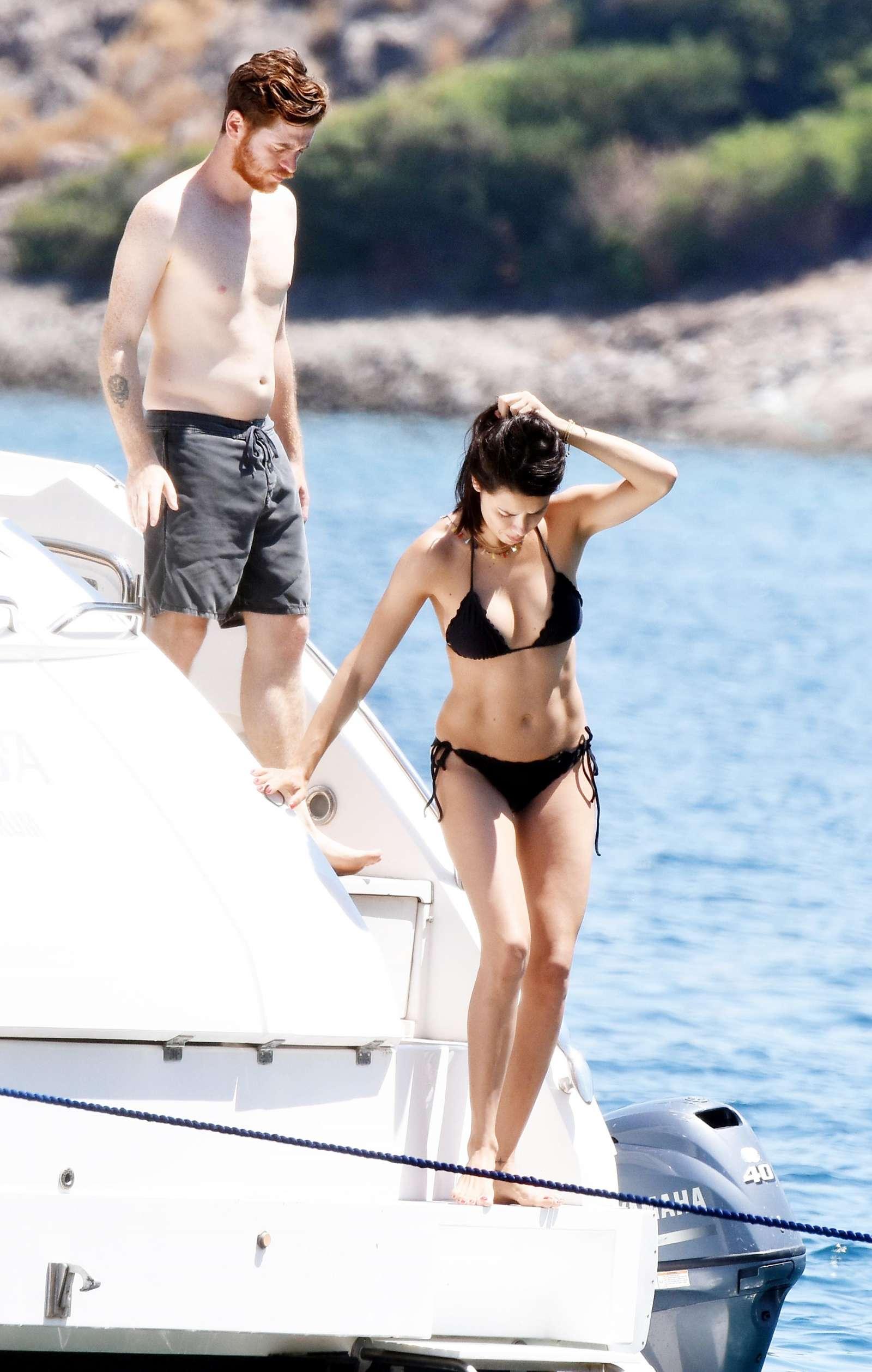 Adriana Lima in Black Bikini on a Yacht in Bodrum