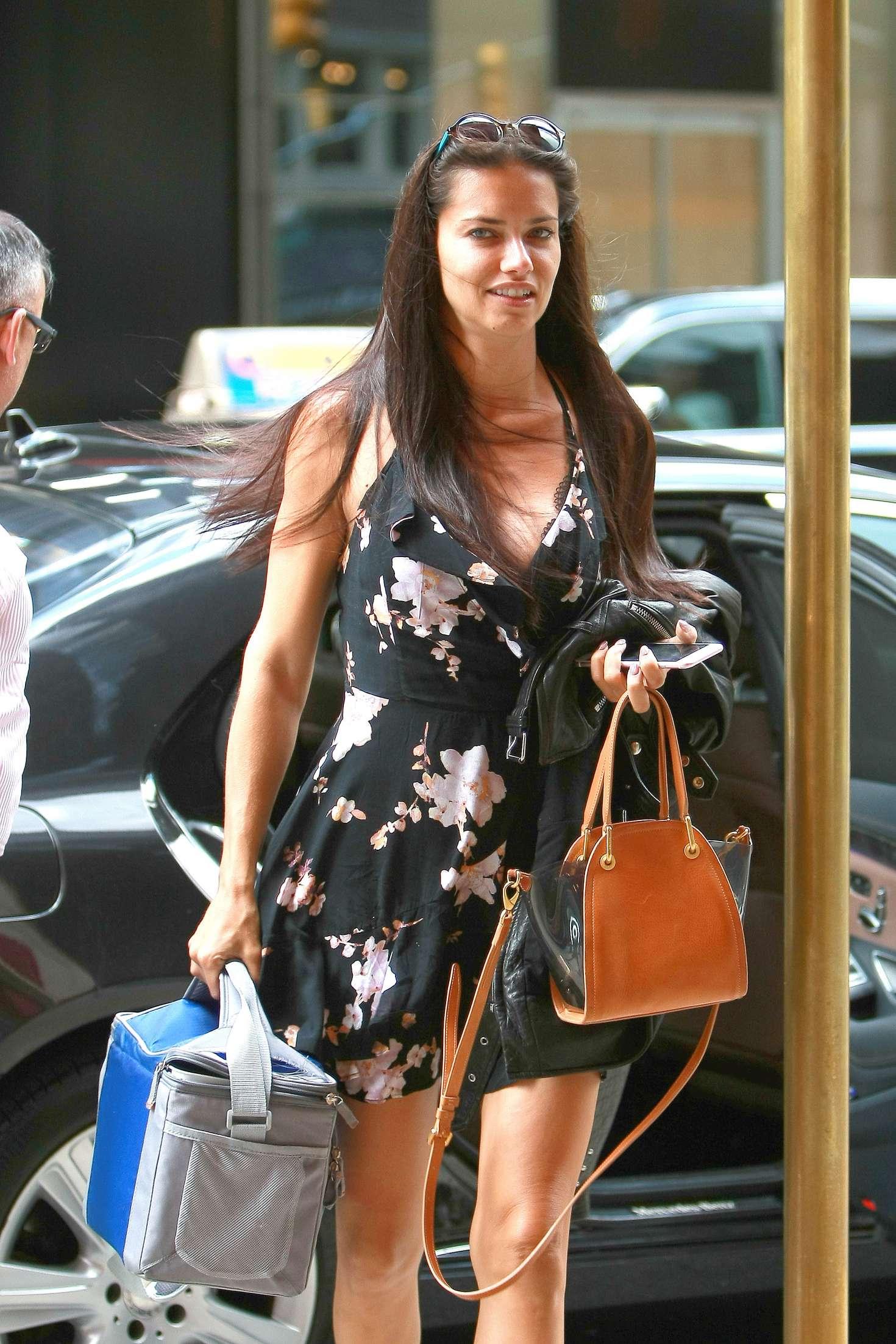 Adriana Lima In Mini Dress Out In Manhattan Gotceleb