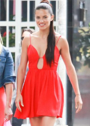 Adriana Lima in Short Red Dress out in Rio de Janeiro