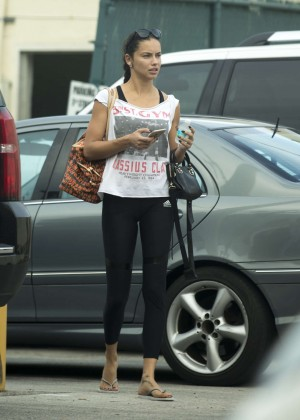 Adriana Lima in Tights Out in Miami