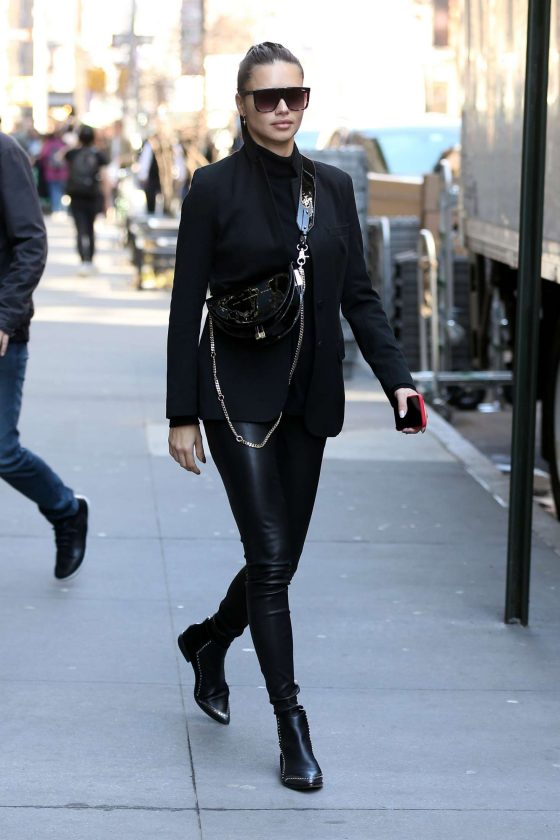 Adriana Lima - Leaves an office building in New York City
