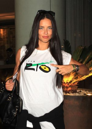 Adriana Lima - Leaving Fasano Restaurant in Sao Paulo