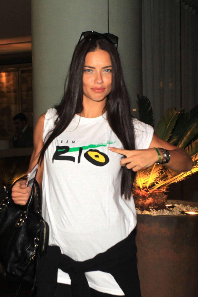 Adriana Lima - Leaving Fasano Restaurant in Sao Paulo