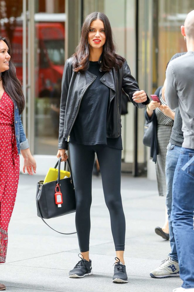Adriana Lima - Leaving SiriusXM studios in New York City