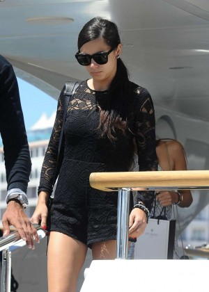 Adriana Lima in Mini Dress Leaving Yacht in Cannes