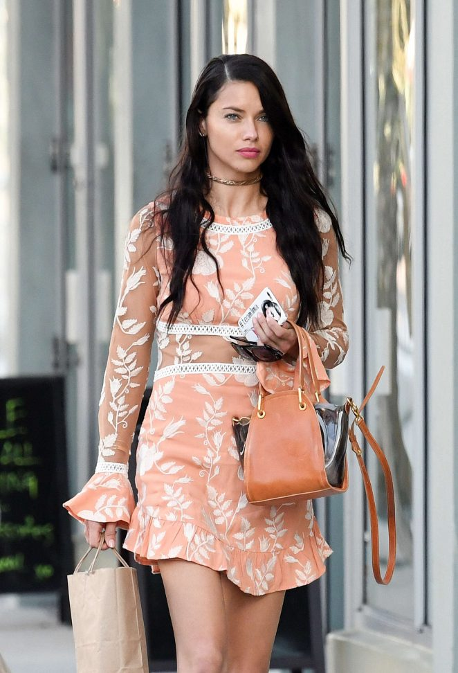 Adriana Lima in Mini Dress Out Shopping in Miami